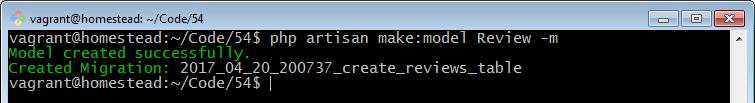 php artisan make model Review m