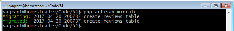 php artisan migrate reviews table