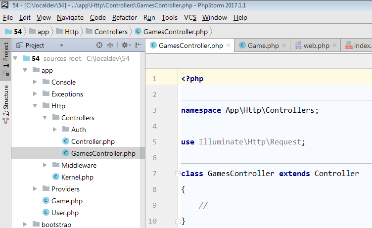 the controller is found in app Http Controllers