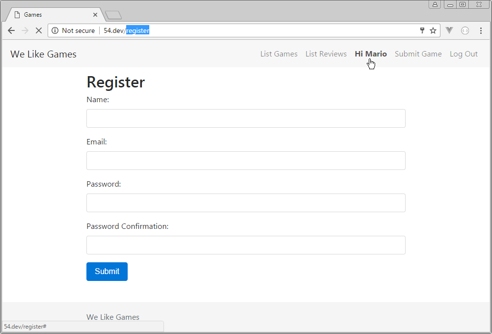 logged in user can still see registration form