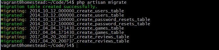 php artisan migrate games_testing