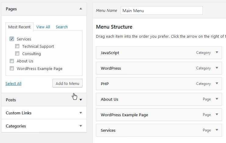Adding parent level page to main menu