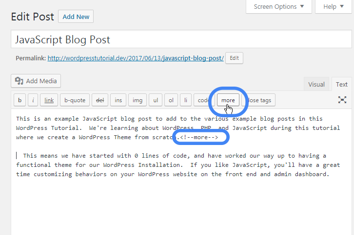 adding read more excerpt link in wordpress text editor