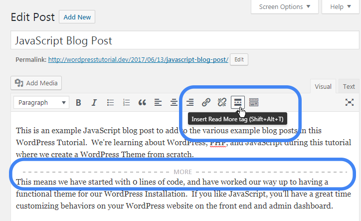 adding read more excerpt link in wordpress visual editor