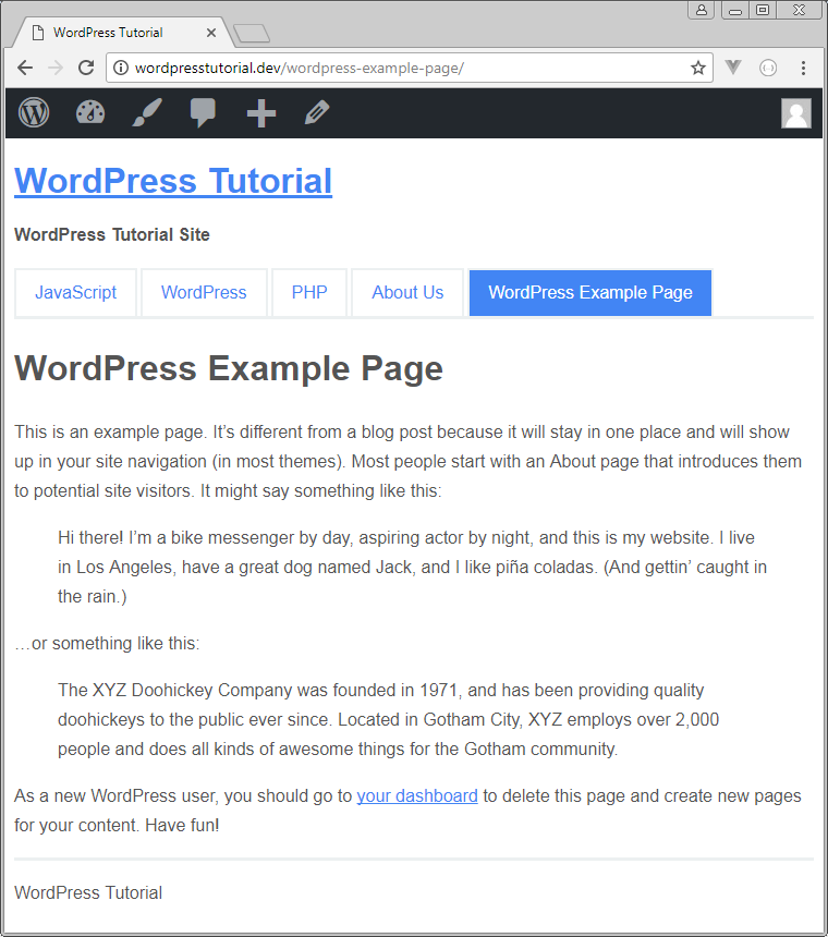 custom page output wordpress