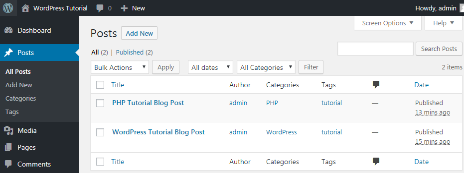 example wordpress posts in database