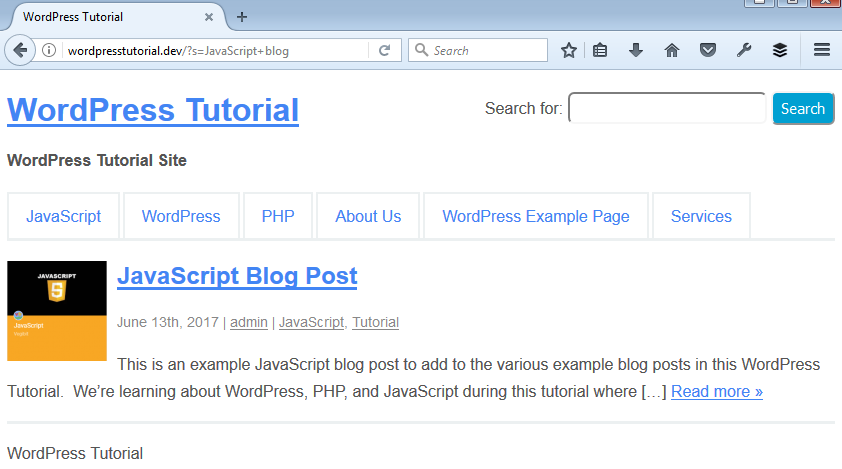 example wordpress search result page