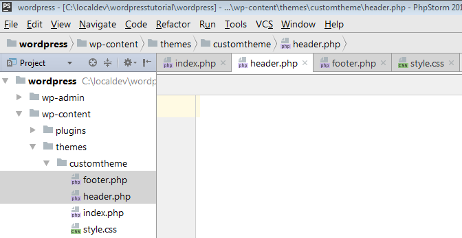 header and footer php files