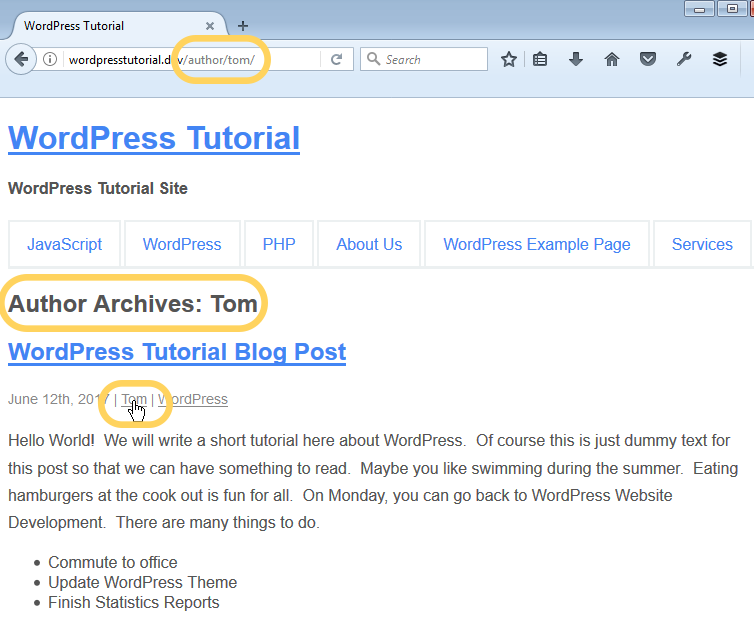how to set up author archives