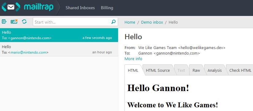 enviamos un nuevo correo electrónico de usuario