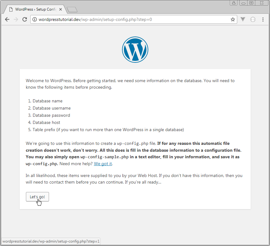 welcome to wordpress step 0
