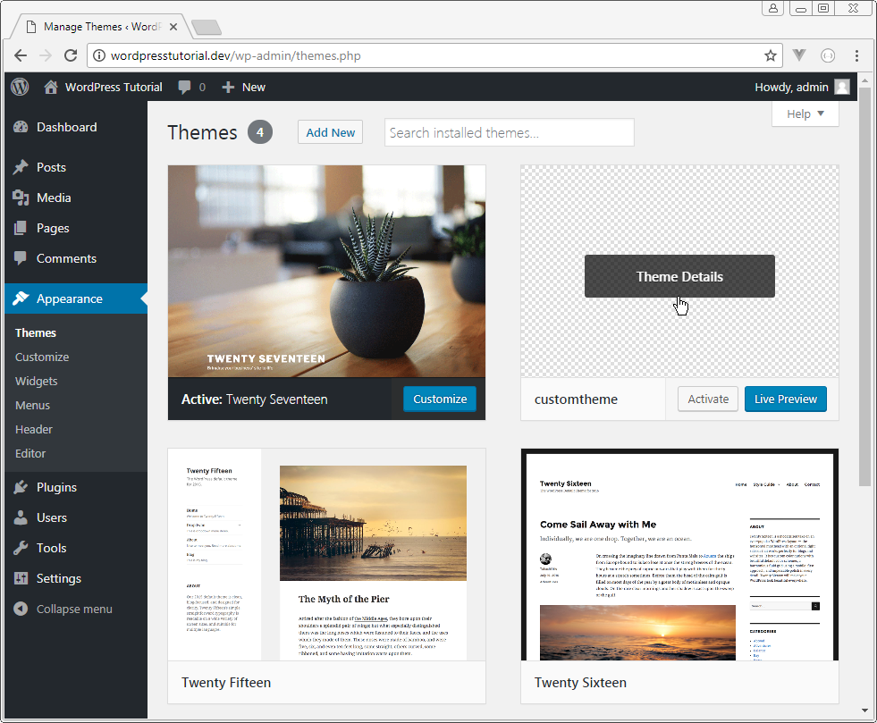 themes page on wordpress