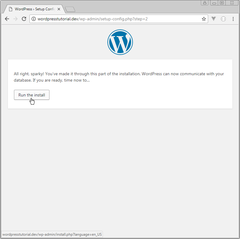 wordpress can now communicate with your database step 2