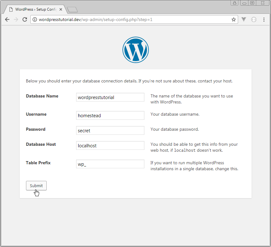 wordpress enter database connection details step 1
