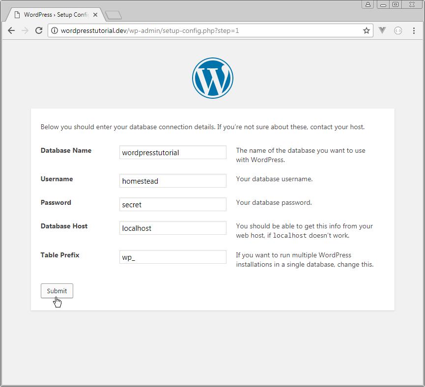 wordpress enter database connection details step 1