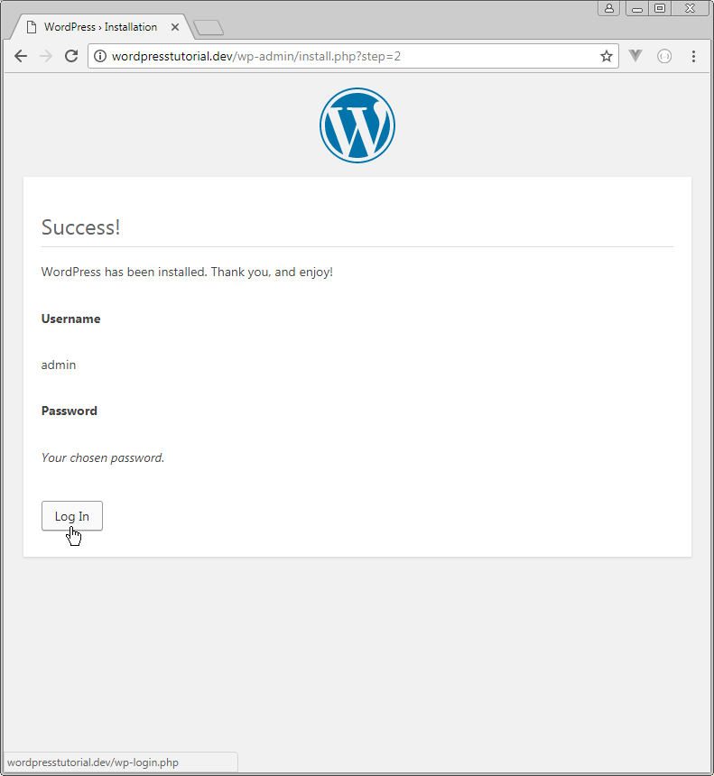 wordpress has been installed thank you