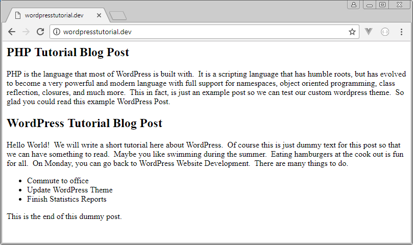 wordpress the_title and the_content