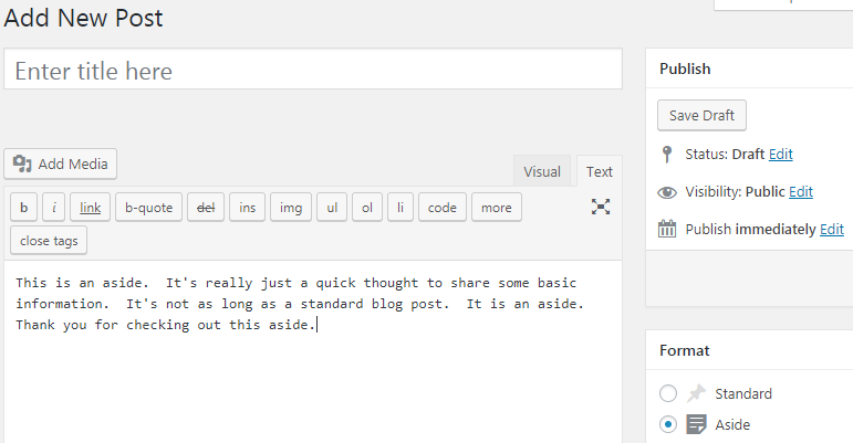 creando un nuevo formato de publicación aparte en wordpress