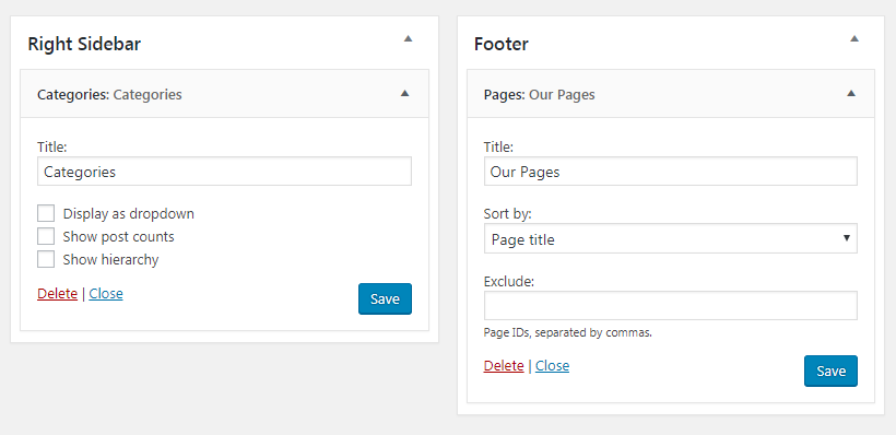 configuración del widget de ubicación de pie de página