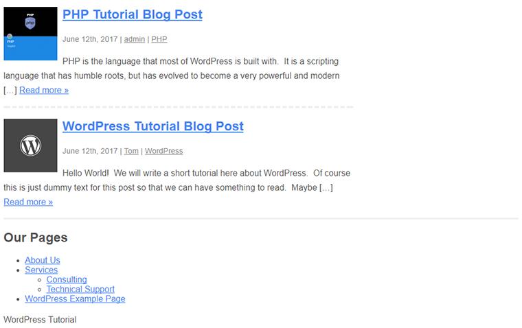 widget de pie de página con envoltorio personalizado html