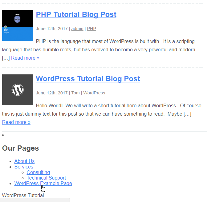 widget in footer of wordpress site