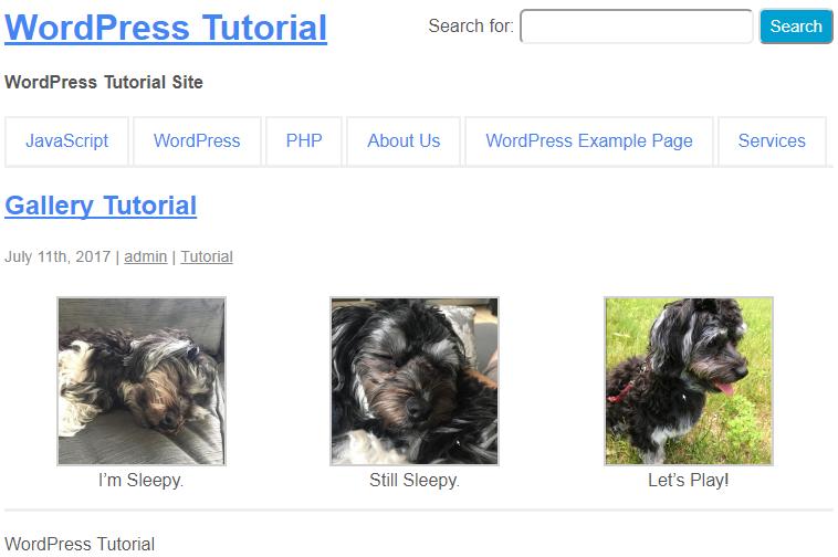 ejemplo de galería de wordpress