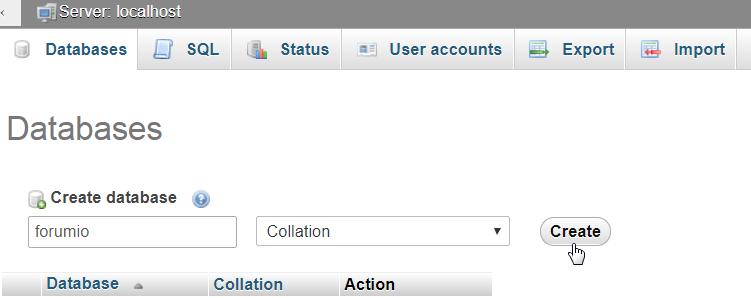 create new forumio database