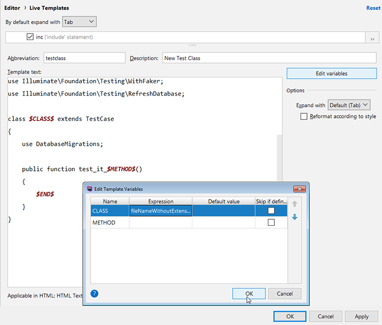 phpstorm live template edit variables