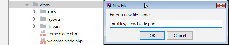 create new view file