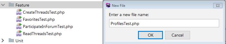 crear clase de prueba de perfil de usuario