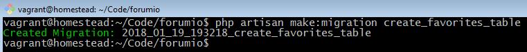 php artisan make migration