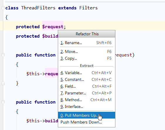 php storm refactor this