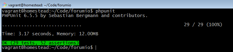 phpunit all tests passing