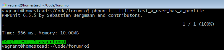 phpunit test passing