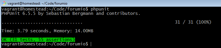 phpunit testing activity feed feature