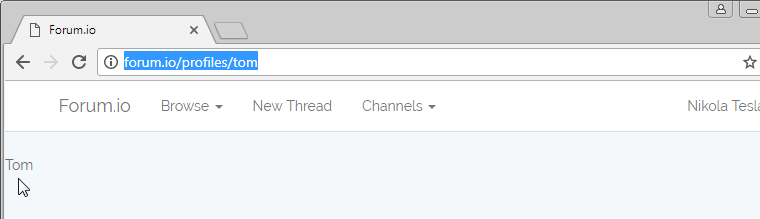 user profile page working in browser