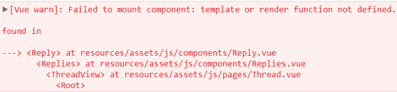 Vue warn Failed to mount component