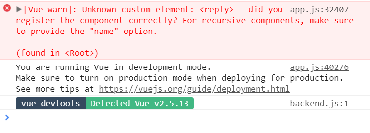 Vue warn Unknown custom element