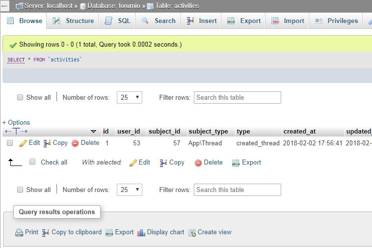 nueva actividad de hilo registrada en la base de datos