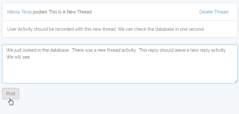 testing user reply activity