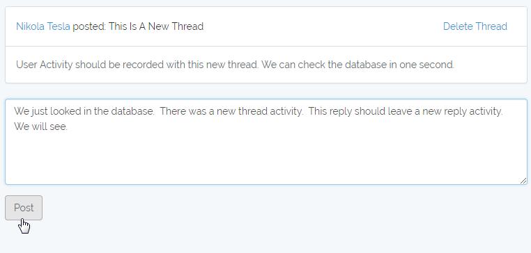 probar la actividad de respuesta del usuario
