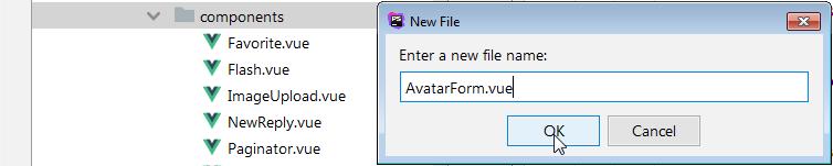 vuejs avatar form component