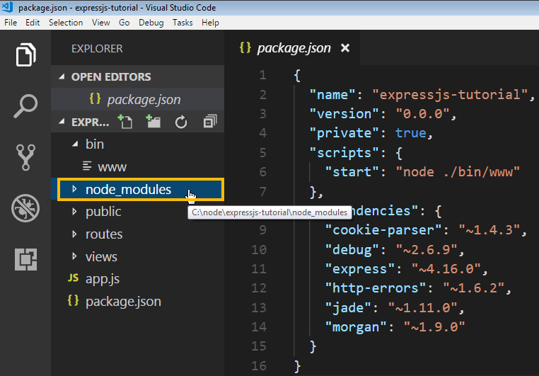 node_modules folder holds dependencies