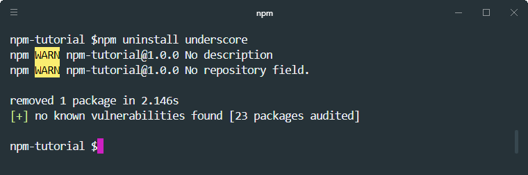 npm uninstall package