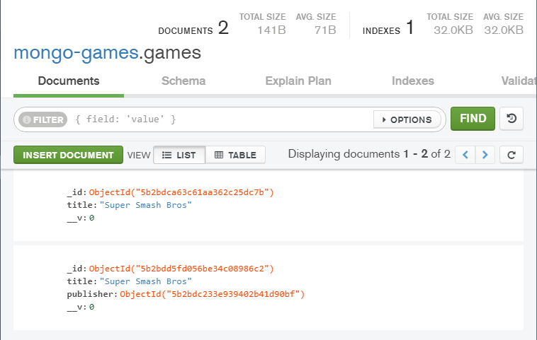 games in mongodb