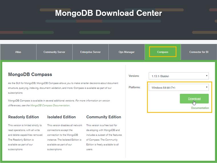install mongodb compass gui tool
