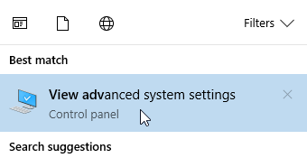 windows 10 advanced system settings