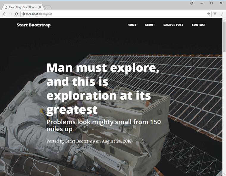 página de publicación única de blog