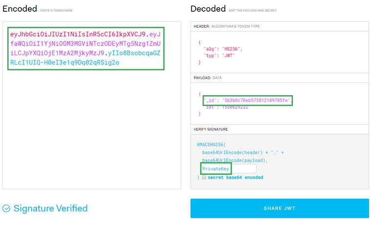 decode json web token at jwtio