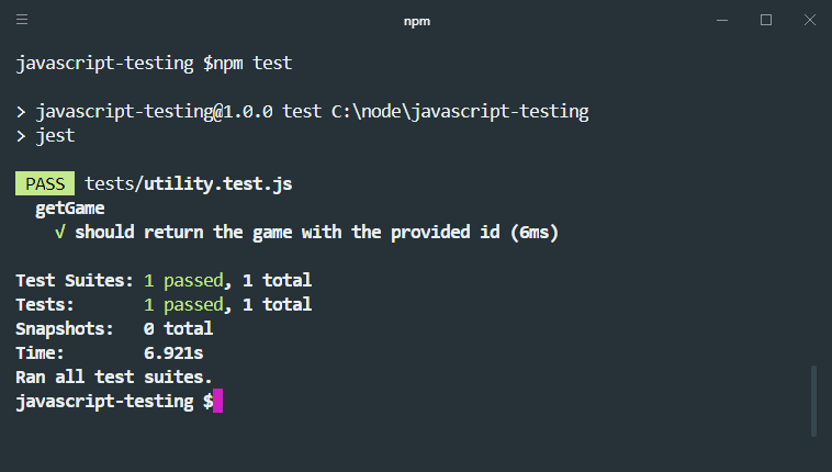 jest toequal for testing objects